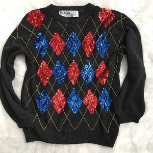 Vintage Beaded Sequin Holiday Christmas Sweater